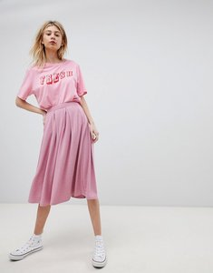 Read more about Asos design midi skirt with box pleats in pink marl - pink marl
