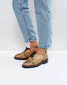 Read more about Asos martial premium leather cut out flat shoes - gold leather