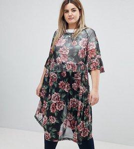 Read more about Zizzi floral print mesh midi dress - black combo