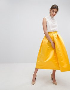 Read more about Closet london london full prom sateen midi skirt - yellow
