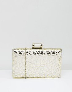 Read more about Chi chi london box clutch bag in cutwork metallic - silver