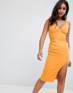 Read more about Asos design cupped lace up sides midi dress - marigold