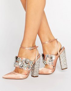 Read more about Asos papaya bridal embellished heels - nude satin