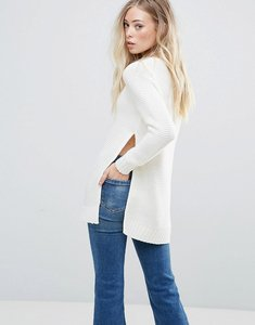 Read more about Qed london jumper with split sides - off white