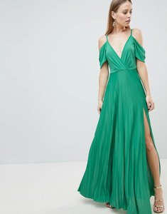 Read more about Asos design cold shoulder cowl back pleated maxi dress - green