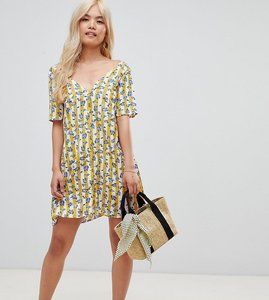 Read more about Glamorous petite v neck shift dress in floral and stripe - yellow stripe floral