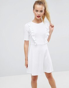 Read more about Asos cotton smock dress with frill details - white
