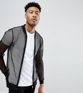 Read more about Asos tall mesh jersey bomber jacket - black