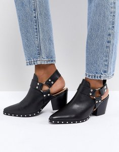 Read more about Office aaron black leather harness detail western boots - black