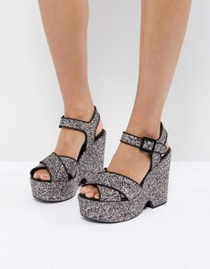 Read more about Asos high definition platform wedge sandals - multi glitter