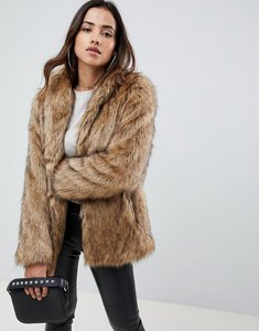 Read more about Asos design stand collar faux fur coat - brown