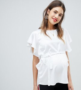 Read more about Mamalicious frill detail woven top - white