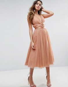 Read more about Asos premium tulle midi prom dress with ribbon ties - peach
