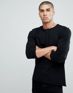 Read more about Another influence basic raw edge long sleeve top - black