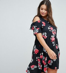 Read more about Praslin floral skater dress with cold shoulder and frill detail - black base floral