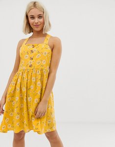 Read more about Qed london button front sun dress in yellow floral