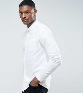 Read more about Asos tall skinny casual oxford shirt in white - white