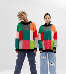 Read more about Collusion unisex oversized jumper in fluffy colourblock - multi