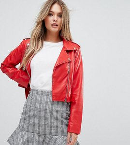 Read more about Prettylittlething leather look biker jacket - red