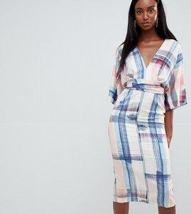 Read more about Asos design tall abstract print kimono midi dress - multi