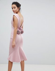 Read more about Asos deep plunge corsage back pephem midi bodycon dress - mink