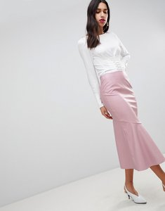 Read more about Asos design leather look midi skirt with kickflare - nude
