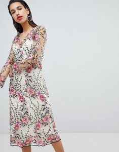 Read more about Vila embroidered floral midi dress - multi