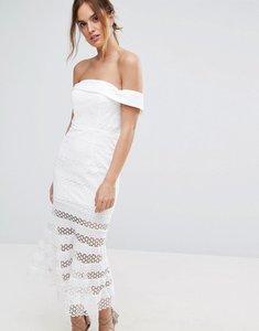 Read more about Jarlo kavita bardot midi dress with sheer stripe skirt - ivory