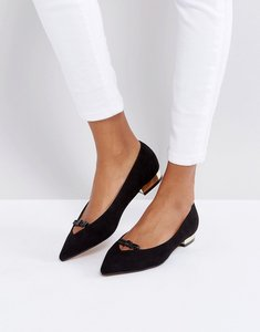 Read more about Lost ink black bow pointed ballet shoes - black