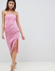 Read more about Asos design premium structured bonded mesh folded pencil dress - pink