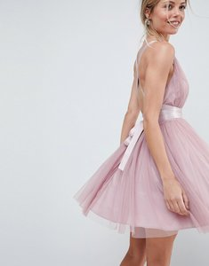Read more about Asos premium tulle mini prom dress with ribbon ties - rose pink