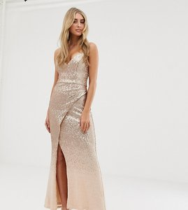 Read more about Bariano embellished ombre sequin strappy back maxi dress in gold