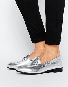 Read more about H by hudson snaffle metallic loafers - silver leather
