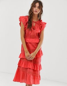 Read more about Rd ruffle tie front dress with lace inserts