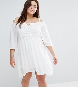 Read more about Diya plus cold shoulder dress with crochet insert - white
