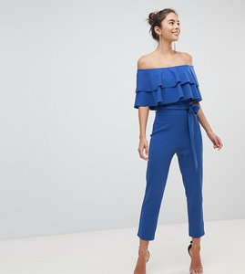 Read more about Silver bloom bandeau frill front jumpsuit - cobalt