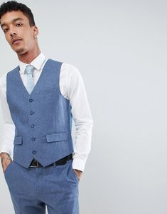 Read more about Harry brown wedding wool blend blue donegal slim fit waistcoat - blue