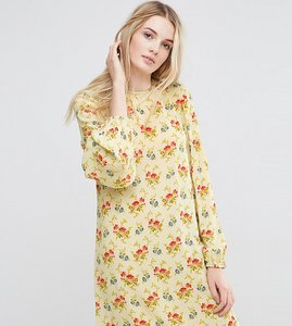 Read more about Asos tall swing dress in vintage floral with frill sleeve detail - multi