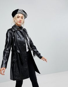 Read more about New look patent coat - black