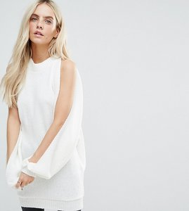 Read more about Glamorous petite relaxed split sleeve jumper - cream