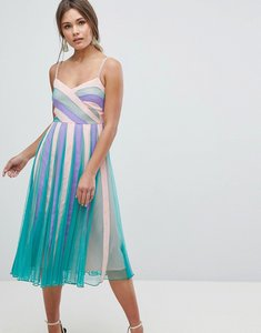 Read more about Asos colourblock mesh fit and flare midi dress - multi