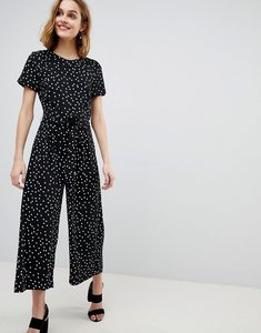 Read more about Warehouse spot print belted crepe jumpsuit - black