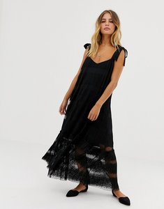 Read more about Sabina musayev lace tiered midi dress - black