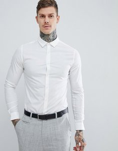 Read more about Asos skinny shirt in white with long sleeves - white