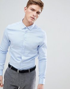 Read more about Asos slim formal work shirt in herringbone in double cuff - blue