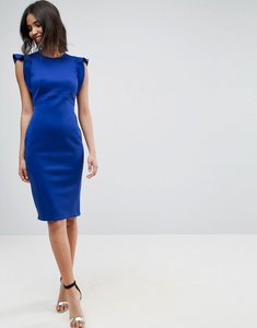 Read more about Asos scuba midi pencil dress with frill sleeve - cobalt