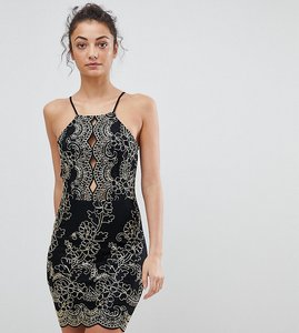 Read more about Parisian tall embroidered metallic dress - black gold