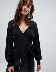 Read more about Outrageous fortune ruffle detail lace insert wrap blouse - black