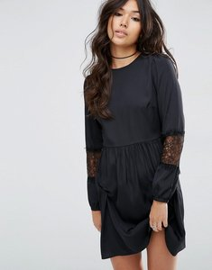 Read more about Asos long sleeve mini dress with lace insert - black