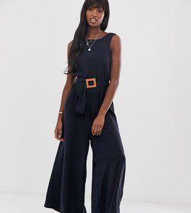 Read more about Asos design tall soft denim belted wide leg jumpsuit